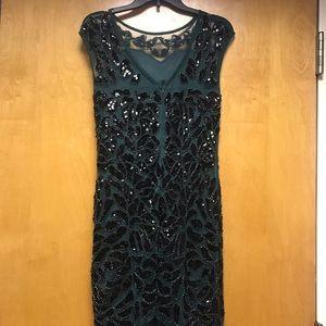 Dresses - 1920's Style Mermaid Dress- Emerald & Black Detail